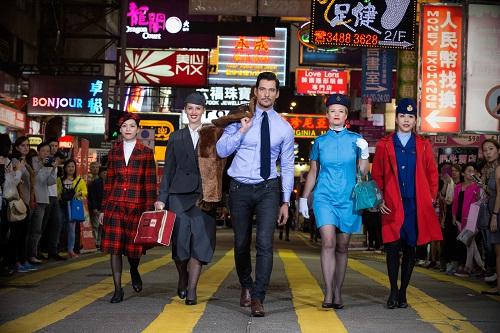 David Gandy in passerella per celebrare l'80esimo anniversario British Airways
