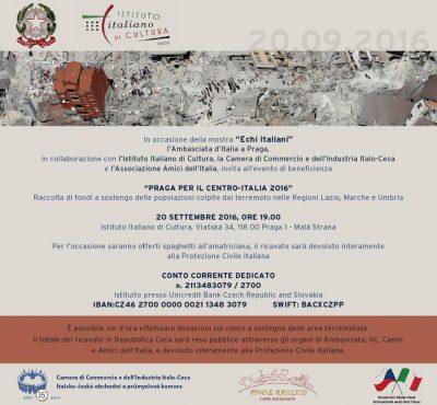 Terremoto: a Praga una serata per le popolazioni del Centro Italia