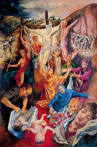 Guadagnuolo- Crocifi ssione, , olio su tela 300×200 cm