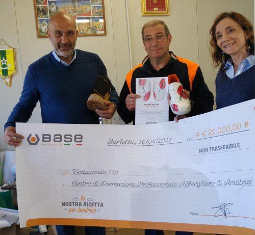 Amatrice: consegnati 21mila euro al sindaco Pirozzi per ricostruire il Centro di Formazione Alberghiero