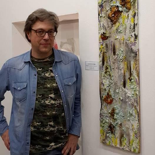 Claudio Dal Pozzo con opera