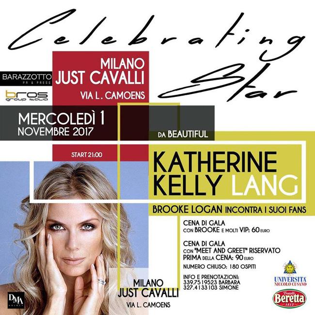 Katherine Kelly Lang a Milano 1 novembre 2017