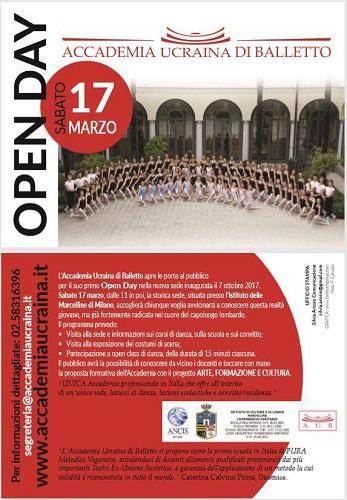 Open Day dell'Accademia Ucraina di Balletto a Milano: sabato 17 marzo