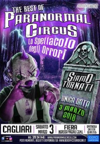 Paranormal Circus torna a Cagliari il 3 marzo 2018, tappa d'eccezione