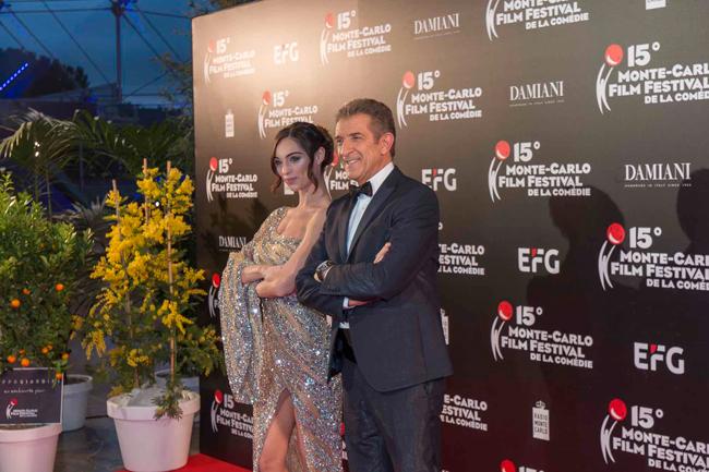 Lorella Boccia con Greggio al Monte-Carlo Film Festival