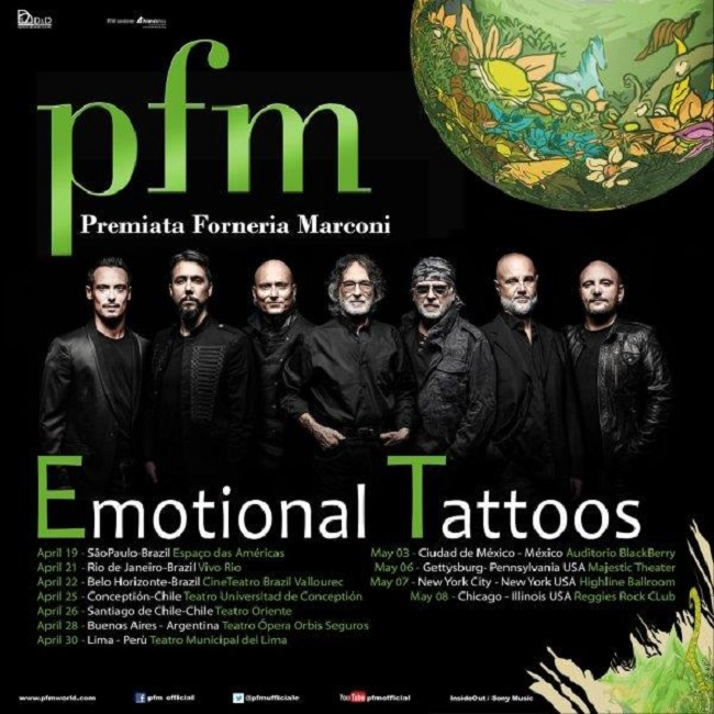 "Premiata Forneria Marconi: l'""Emotional Tattoos Tour"" arriva in America"