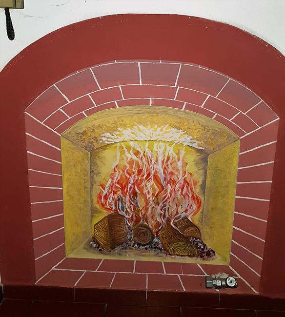 caminetto murale cm 115x125 acrilico
