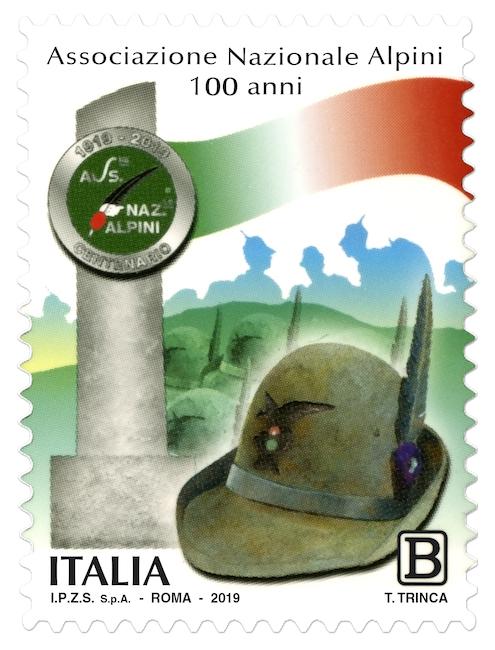 Francobollo celebrativo per i 100 anni dell'Associazione Nazionale Alpini