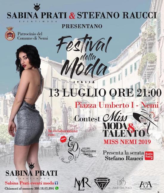 """Festival della Moda e """"Miss Moda & Talento"""" a Nemi"""