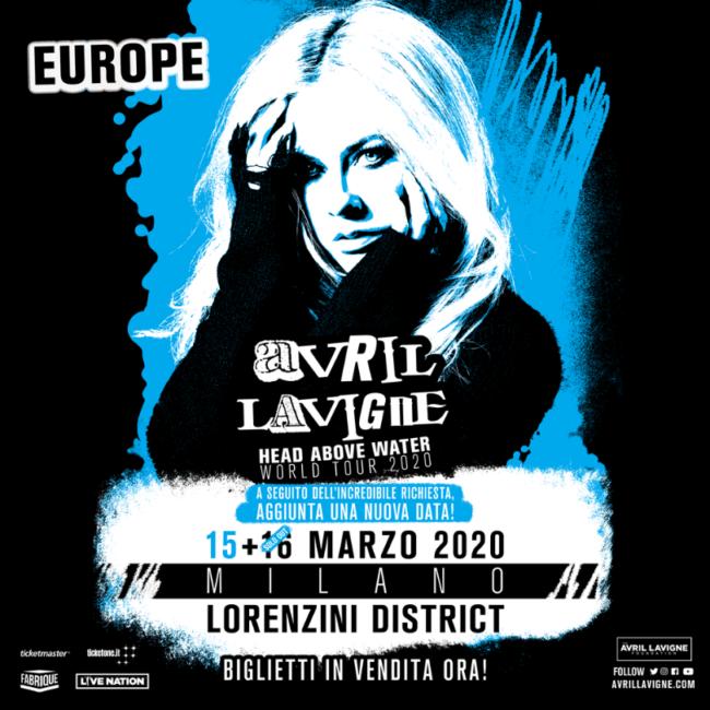 Avril Lavigne: a seguito dell'enorme richiesta, aggiunto un nuovo concerto in Italia il 15 marzo 2020 al Lorenzini District di Milano