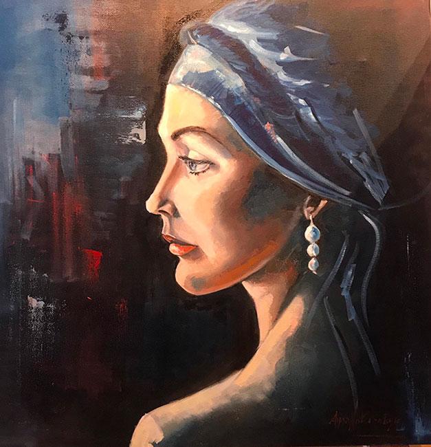 donna con orecchino 70x70