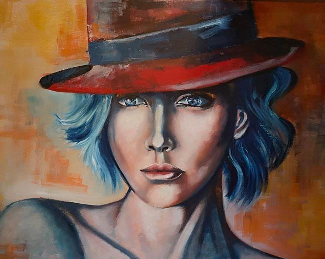la donna con il cappello rosso cu 70x70