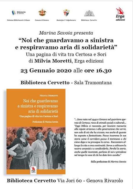 Genova, Marina Savoia presenta il libro di Milvia Moretti