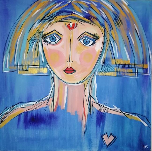 femme de coeur bleue
