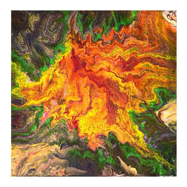 mosso arancio acrilico su tela