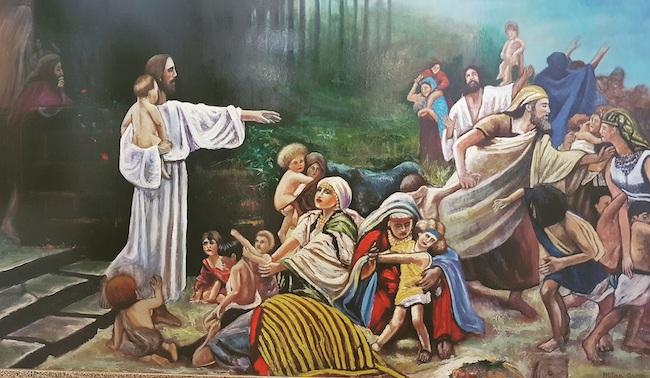 Jesus mit Kindern-Homage an V. Bukovac