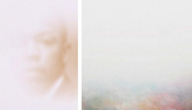 Portrait of John Lewis, 21x29.7 cm, olio su tela, 2020; Nimble Est, 100x100 cm, olio e tecniche miste su tela, 2018