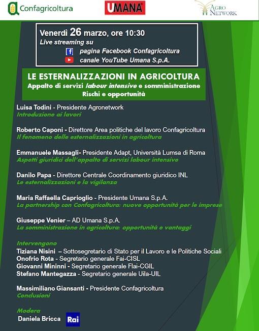 esternalizzazioni in agricoltura
