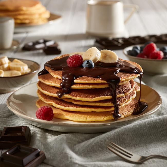 pancake con glassa cioccolato