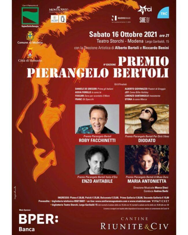 A Roby Facchinetti il Premio Pierangelo Bertoli