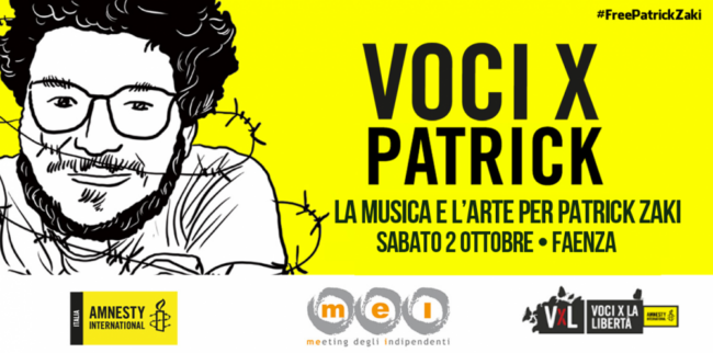 On 2 October 'Voices x Patrick: music and art for Patrick Zaki'